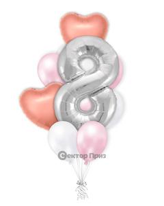 «Букет на восемь лет девочке» — шары с гелием. 15 шт.
