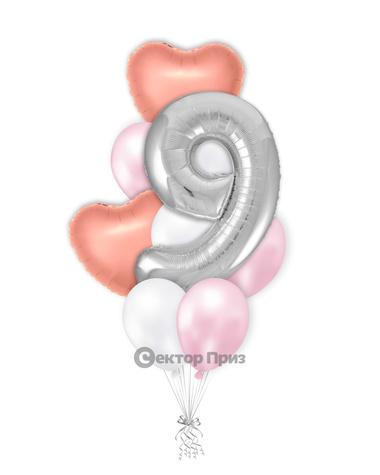 «Букет на девять лет девочке» — шары с гелием. 15 шт.