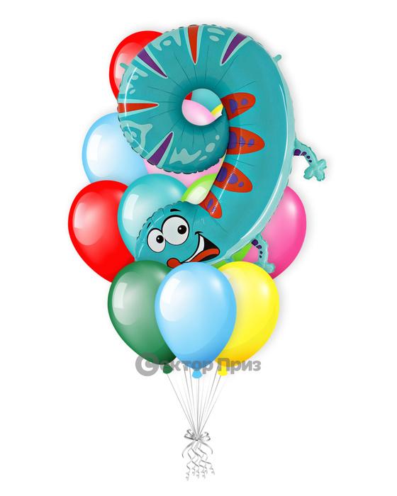 «Ящерица на девять лет» — шары с гелием. 16 шт.