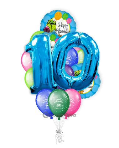 «На десять лет ребенку» — шары с гелием. 21 шт.