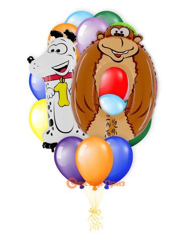 «Детский букет на десятилетие» — шары с гелием. 24 шт.