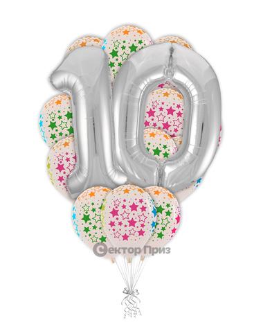 «Число 10 в букете» — шары с гелием. 22 шт.