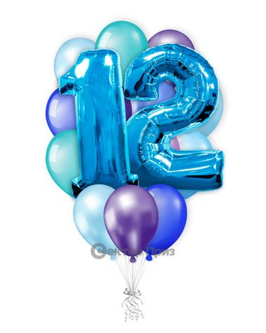 «На двенадцать лет мальчику» — шары с гелием. 26 шт.