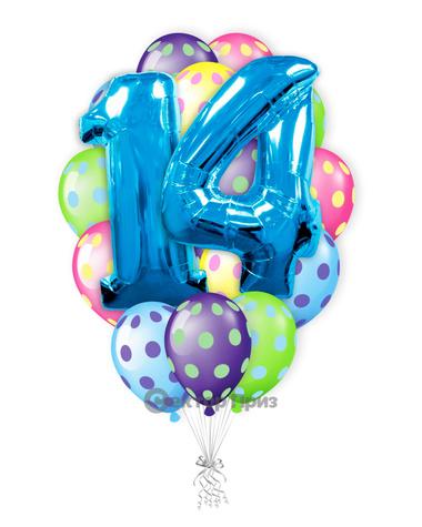 «Шарики на 14 лет» — шары с гелием. 24 шт.