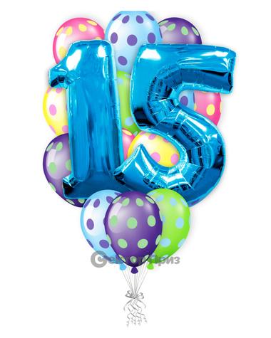 «Шарики на 15 лет» — шары с гелием. 24 шт.