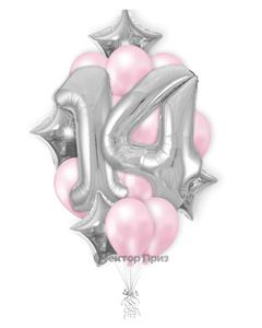 «Букет на 14 лет девочке» — шары с гелием. 25 шт.