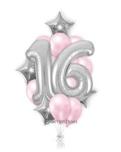 «Букет на 16 лет для девочки» — шары с гелием. 25 шт.