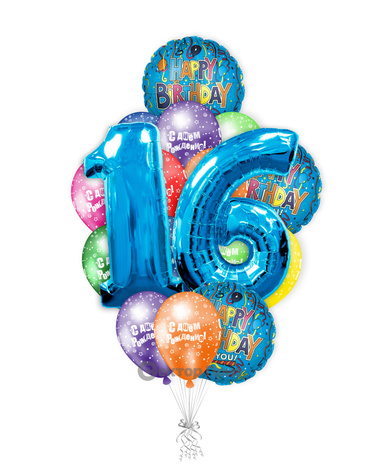 «На 16 лет парню» — шары с гелием. 24 шт.