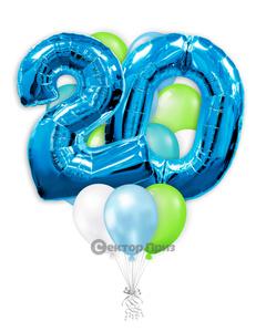 «На 20 лет с синими цифрами» — шары с гелием. 20 шт.