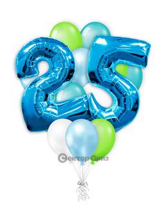 «На 25 лет с синими цифрами» — шары с гелием. 25 шт.