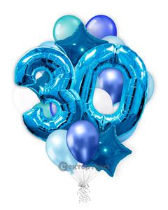 «На 30 лет с синими цифрами» — шары с гелием. 30 шт.