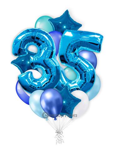 «На 35 лет с синими цифрами» — шары с гелием. 35 шт.