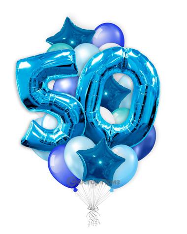 «На 50 лет с синими цифрами» — шары с гелием. 35 шт.
