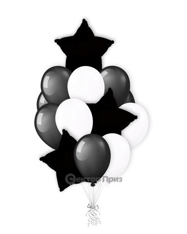 «Черно-белый букет» — шары с гелием. 19 шт.