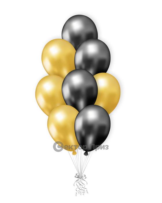 «Черно-золотые шары» — шары с гелием. 12 шт.