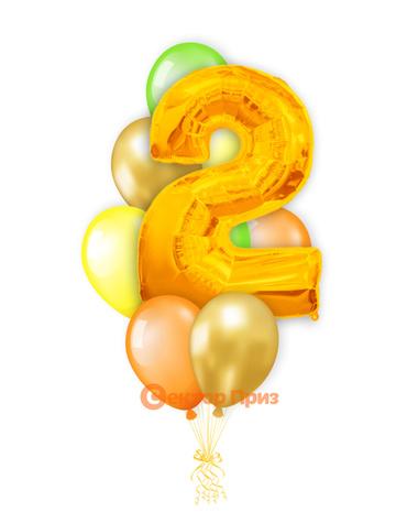 «Шары на два года, золото» — шары с гелием. 12 шт.