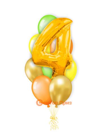 «Шары на четыре года, золото» — шары с гелием. 12 шт.