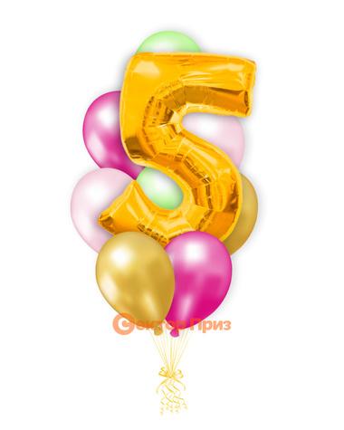 «Шары на пять лет, золото» — шары с гелием. 12 шт.