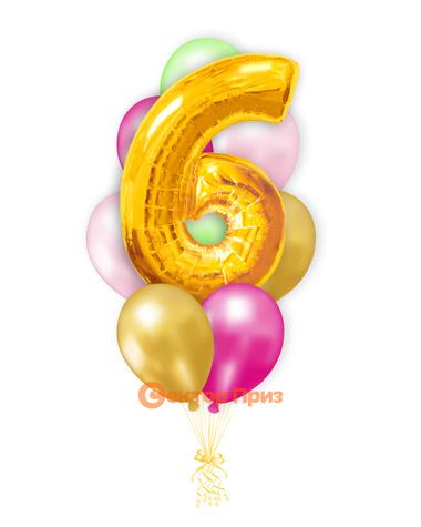 «Шары на шесть лет, золото» — шары с гелием. 12 шт.
