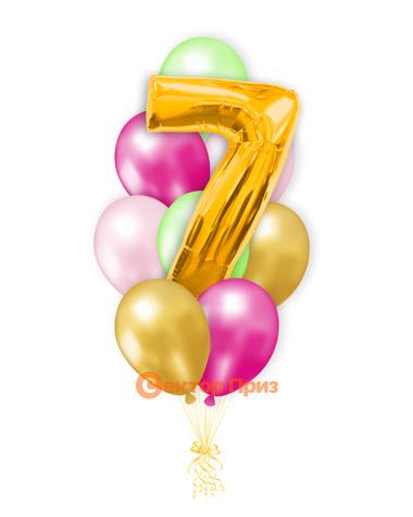 «Шары на семь лет, золото» — шары с гелием. 12 шт.