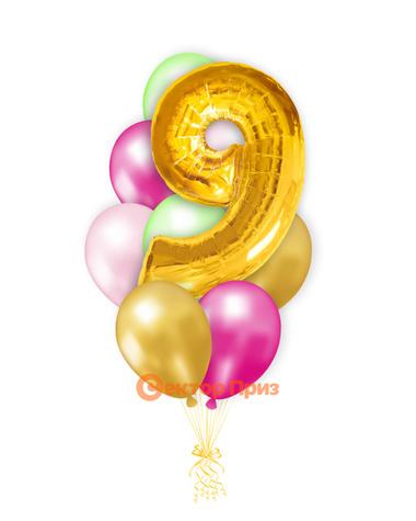 «Шары на девять лет, золото» — шары с гелием. 12 шт.