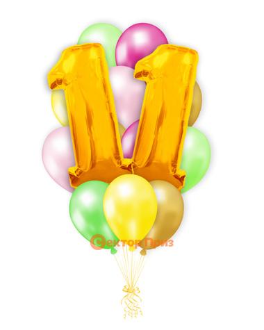 «Шары на одиннадцать лет, золото» — шары с гелием. 20 шт.