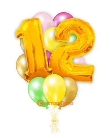 «Шары на двенадцать лет, золото» — шары с гелием. 20 шт.