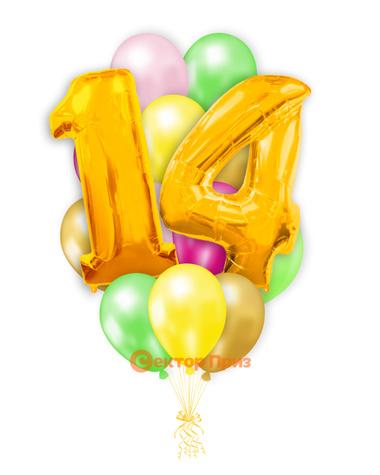 «Шары на четырнадцать лет, золото» — шары с гелием. 20 шт.