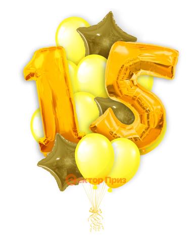 «Шары на пятнадцать лет, золото» — шары с гелием. 20 шт.