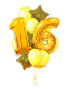 «Шары на шестнадцать лет, золото» — шары с гелием. 20 шт.