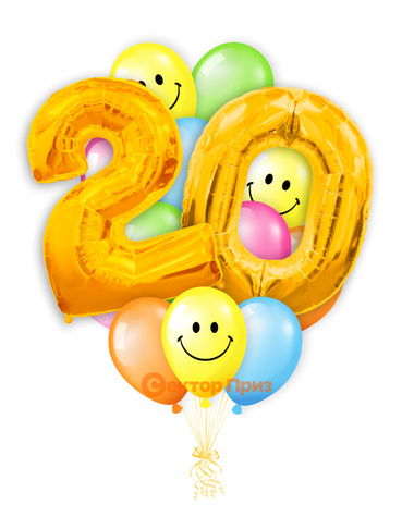 «Шары на двадцать лет, золото» — шары с гелием. 25 шт.
