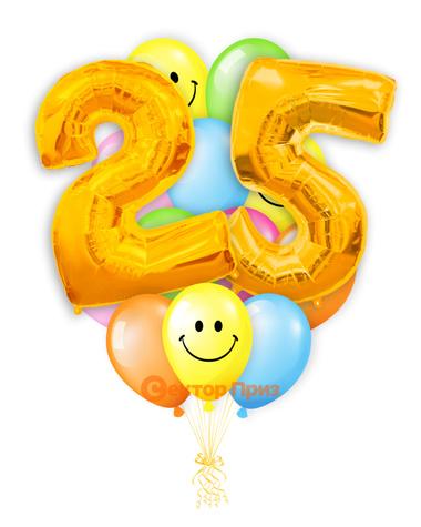 «Шары на двадцать пять лет, золото» — шары с гелием. 25 шт.