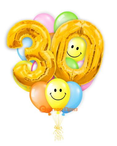 «Шары на тридцать лет, золото» — шары с гелием. 25 шт.