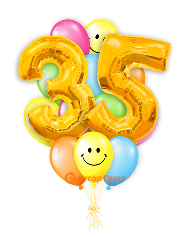 «Шары на тридцать пять лет, золото» — шары с гелием. 25 шт.