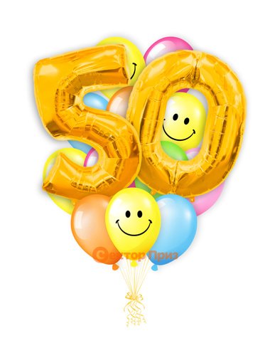 «Шары на пятьдесят лет, золото» — шары с гелием. 25 шт.