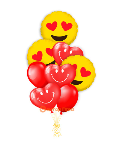 «Влюбленные смайлики» — шары с гелием. 12 шт.