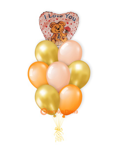 «Мишка с букетом» — шары с гелием. 12 шт.