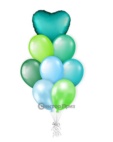 «Малахитовая шкатулка» — шары с гелием. 12 шт.