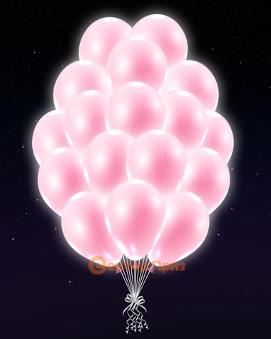 Светло-розовые светящиеся шары