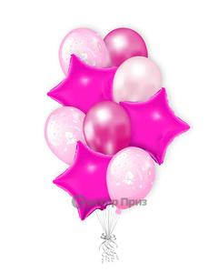 «Букет на выписку для девочки» — шары с гелием. 15 шт.