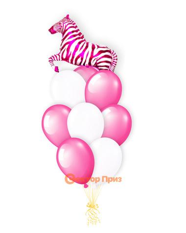 «Розовая зебра» — шары с гелием. 12 шт.