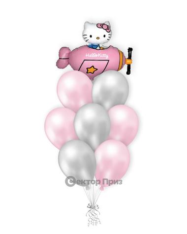 «Котенок в розовом самолете» — шары с гелием. 12 шт.