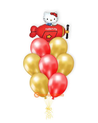 «Котенок в красном самолете» — шары с гелием. 12 шт.