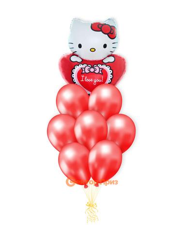 «Котенок с сердечком» — шары с гелием. 12 шт.