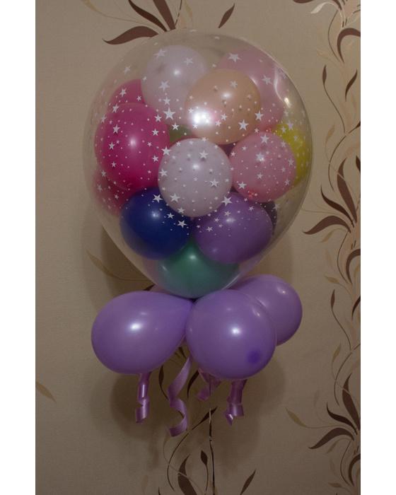 Шар-сюрприз с гелием (17 шариков внутри)
