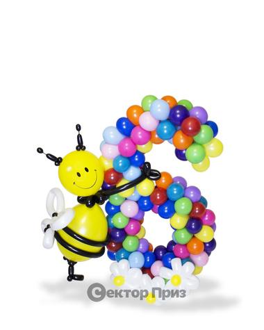 Фигура из шаров «Цифра шесть разноцветная»