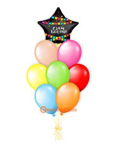 «С Днем рождения №9» — шары с гелием. 12 шт.