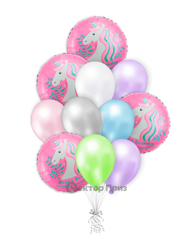«С Днем рождения № 15» — шары с гелием. 15 шт.
