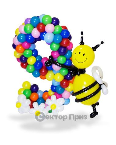 Фигура из шаров «Цифра девять разноцветная»