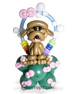 Фигура из шаров «Собачка на полянке»